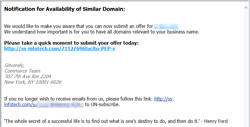 Domain Notification E-Mail