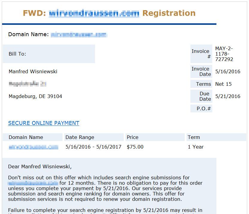 FWD: Domain Registration Spam Beispiel