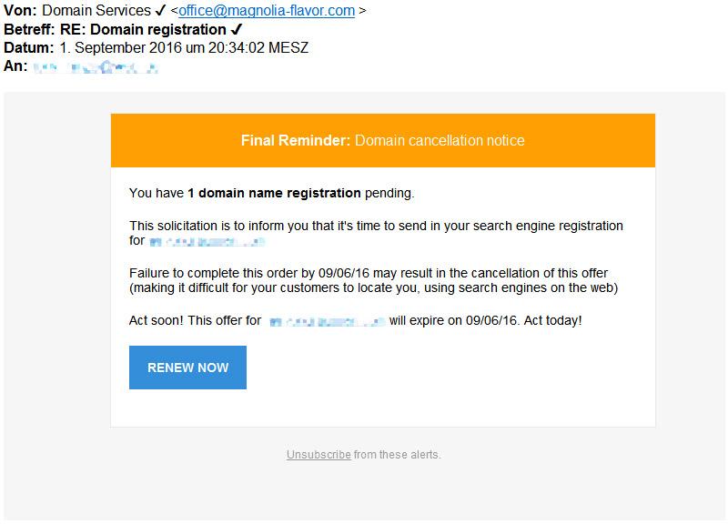 Domain Services Spam Beispiel
